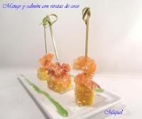 Mango y salmón con virutas de coco