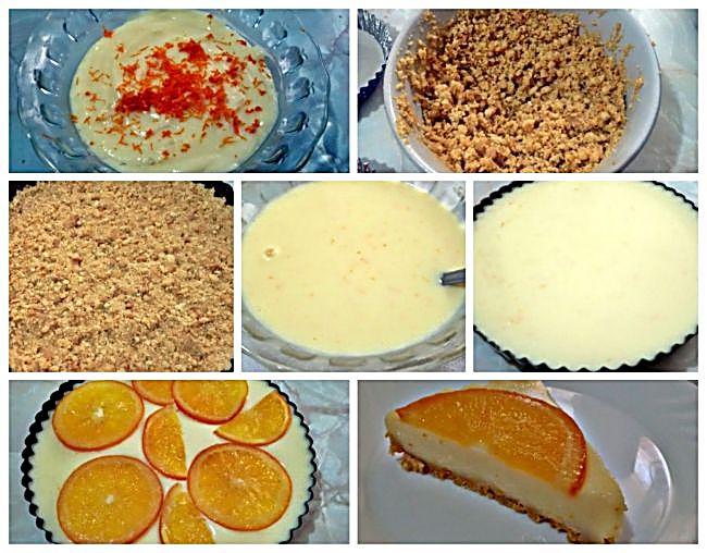 Preparación de la tarta de leche condensada con naranja confitada