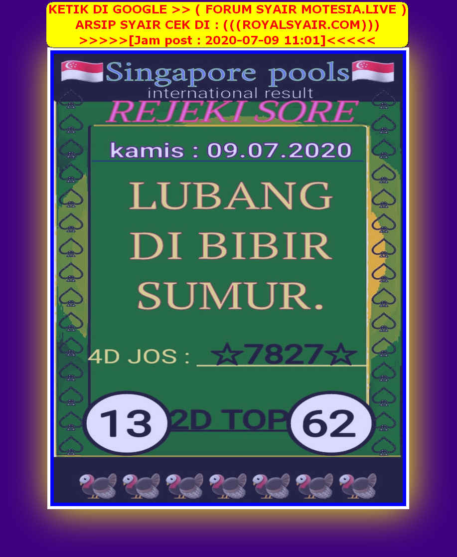 Kode syair Singapore Kamis 9 Juli 2020 42
