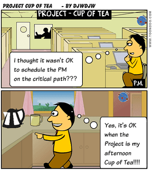 Project Schedule with a cup of tea