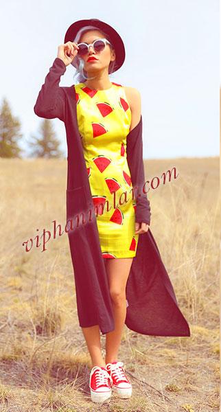Karpuz baskılı sarı kolsuz elbise - www.viphanimlar.com