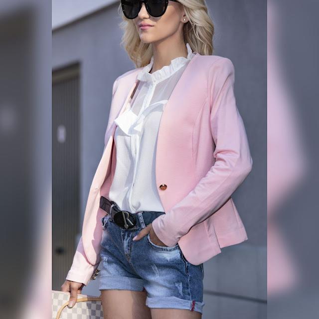 Μακρυμάνικο ροζ γυναικείο  σακάκι MARIELA PINK