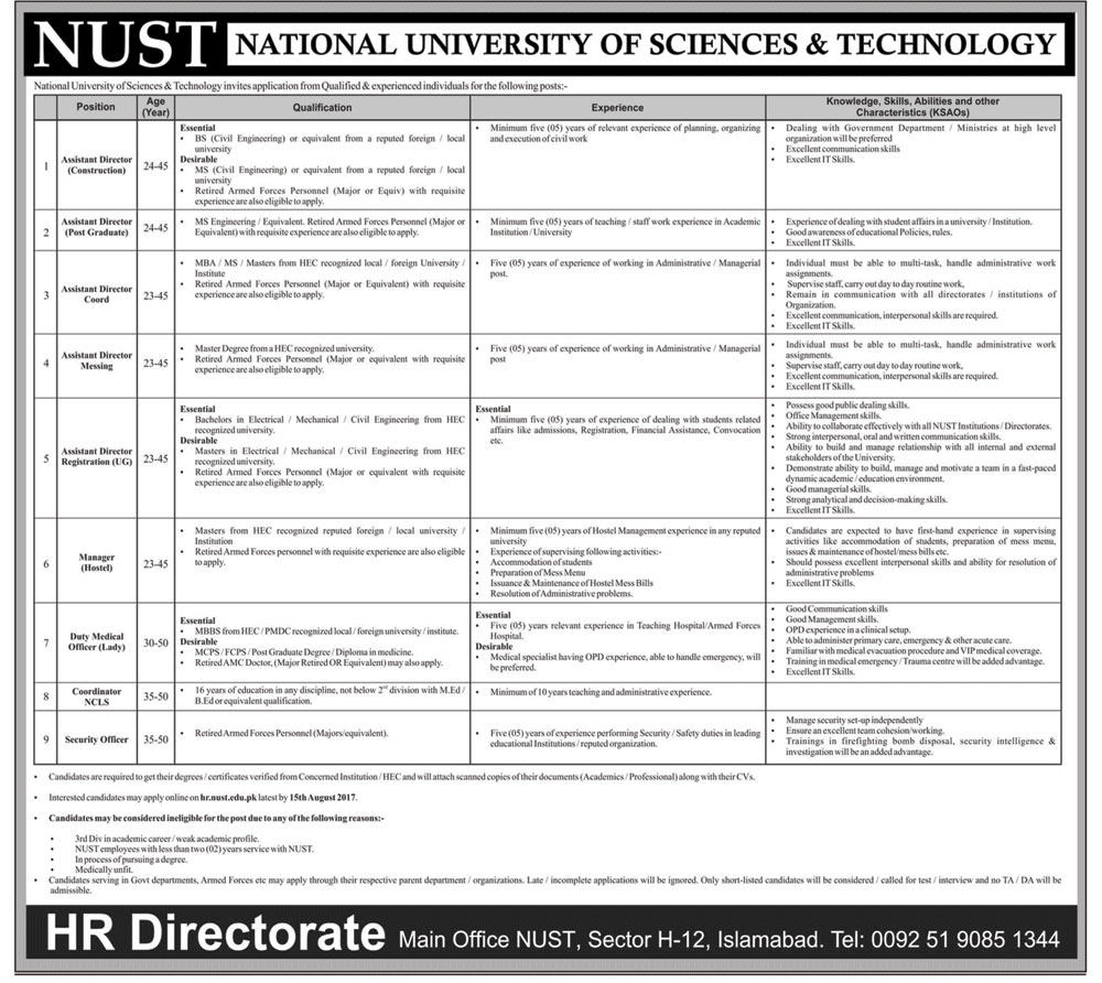 National University of Sciences & Technology NUST Jobs in Islamabad 2017
