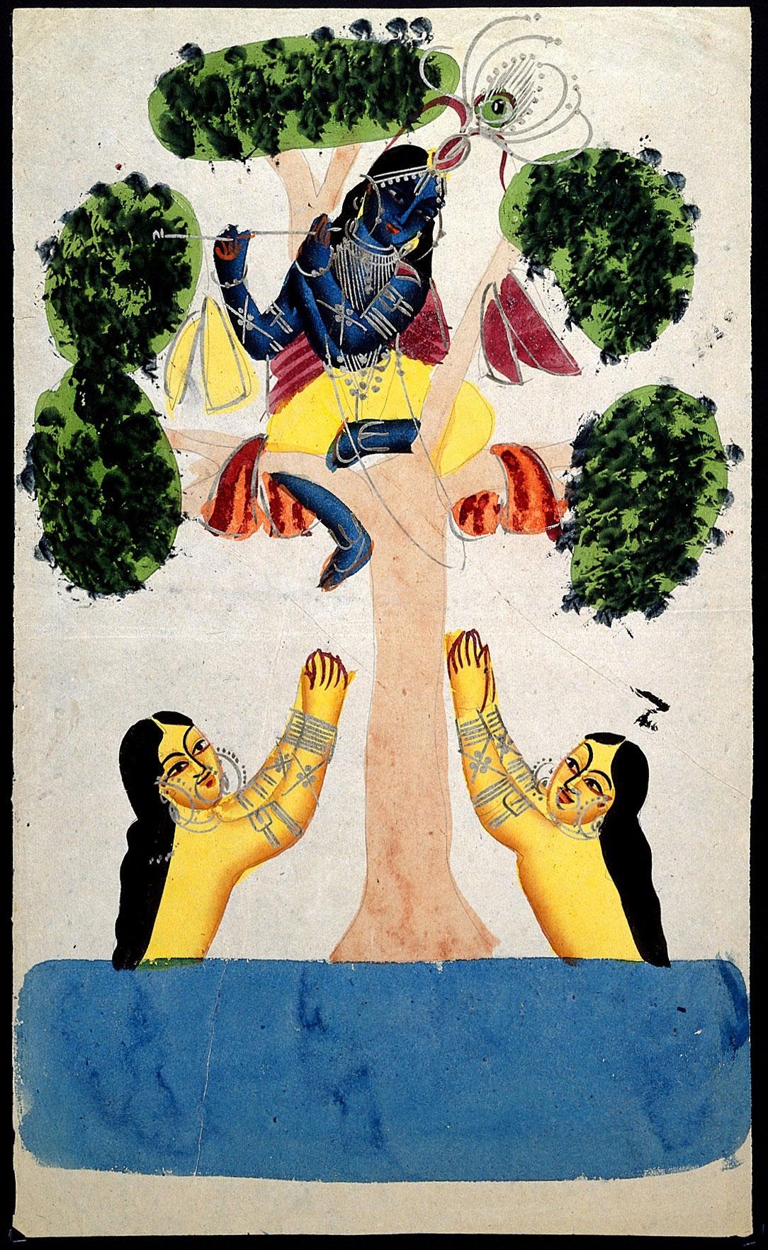 Krishna Stealing Gopis' Clothes - Kalighat Painting