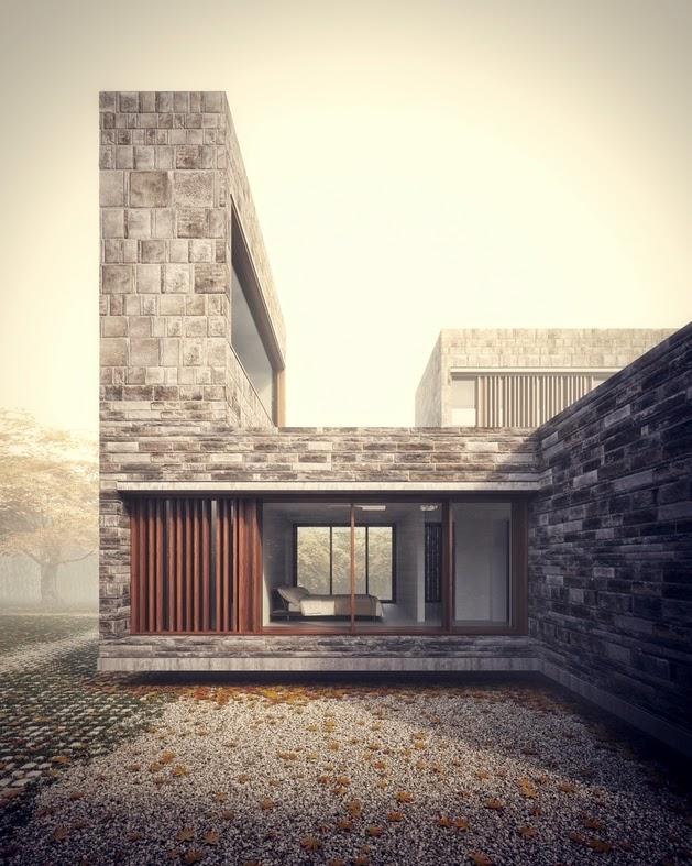 masing mempunyai keunikan dan dirancang untuk mengekspresikan estetika desain  Rancangan Rumah Modern dengan Dinding Batu Alam
