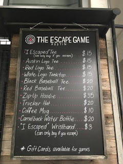 Price listing of all the Escape Game swag