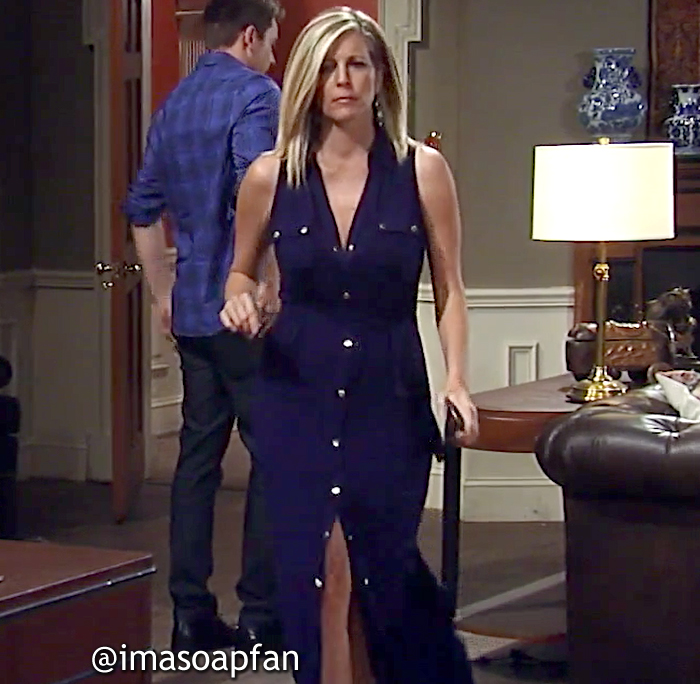 Carly Corinthos, Laura Wright, Navy Blue Maxi Shirtdress, Michael Kors, GH, General Hospital