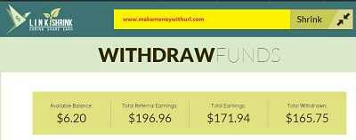 Liñkshrink earning proof make money online