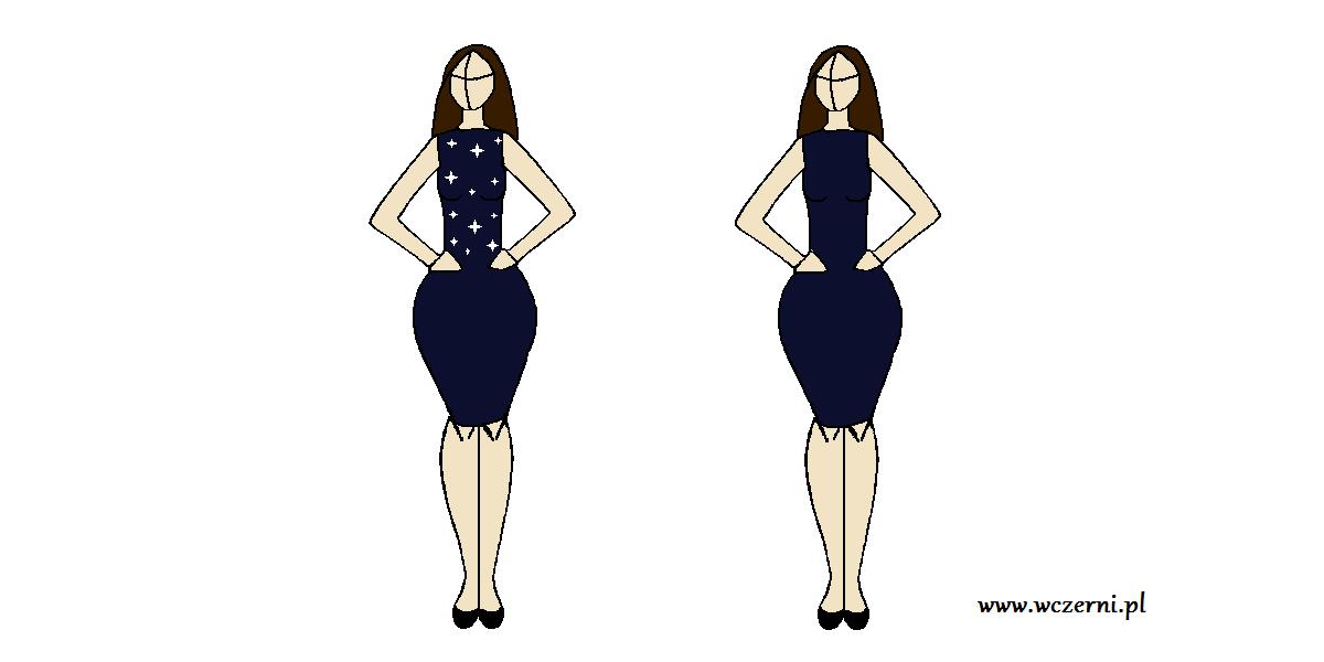 szerokie biodra wyszczuplone za pomocą odpowiednio dobranego wzoru sukienki