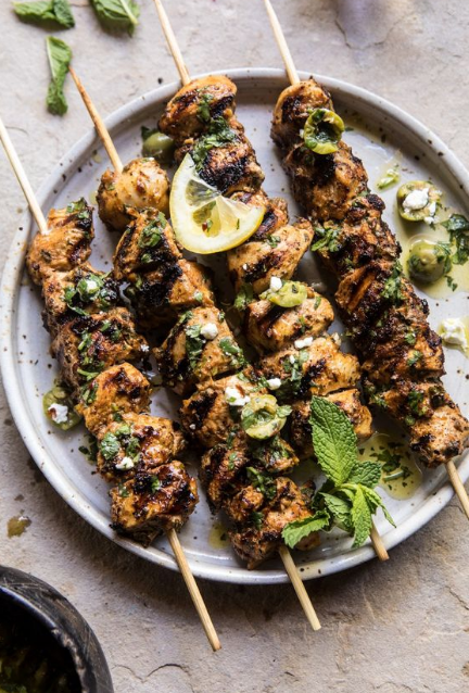 moroccan grilled chicken with herby lemon olive vinaigrette