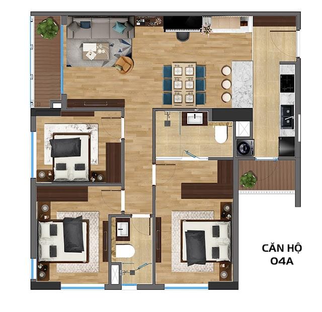 thiết kế căn 3 ngủ rivera park nghĩa tân