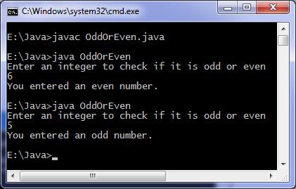Java program to find odd or even