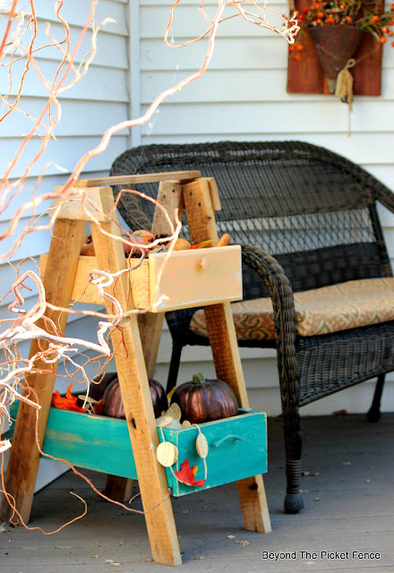 fall, decor, autumn, porch, pumpkins, gourds, repurposed drawers, curly willows,http://bec4-beyondthepicketfence.blogspot.com/2015/09/ushering-in-autumn-bit-by-bit.html