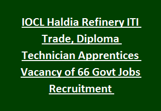 IOCL Haldia Refinery ITI Trade, Diploma Technician Apprentices Vacancy of 66 Govt Jobs Recruitment Notification 2017