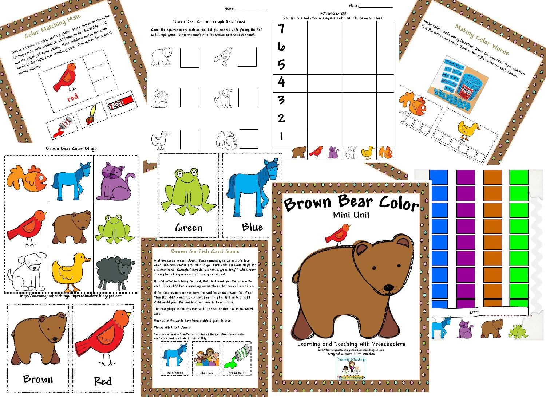 Learning And Teaching With Preschoolers Brown Bear Freebie