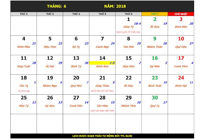Lịch Vạn Sự Năm 2018 Tháng 6