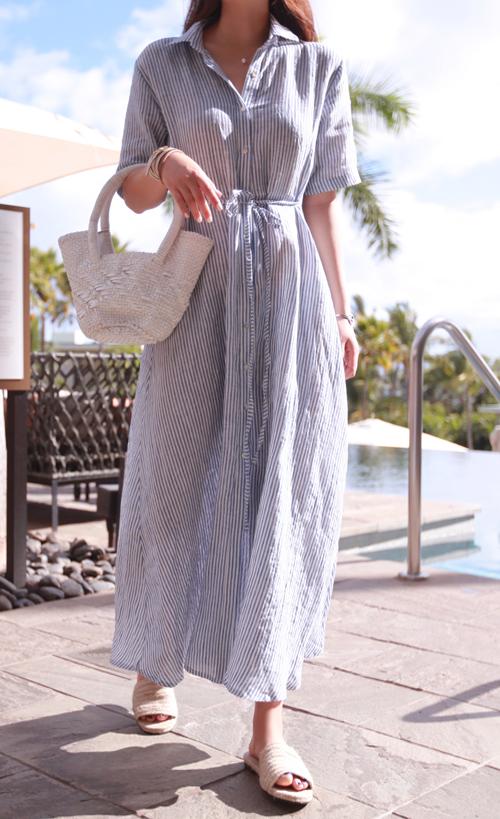 Collared Button-Down Striped Maxi Dress