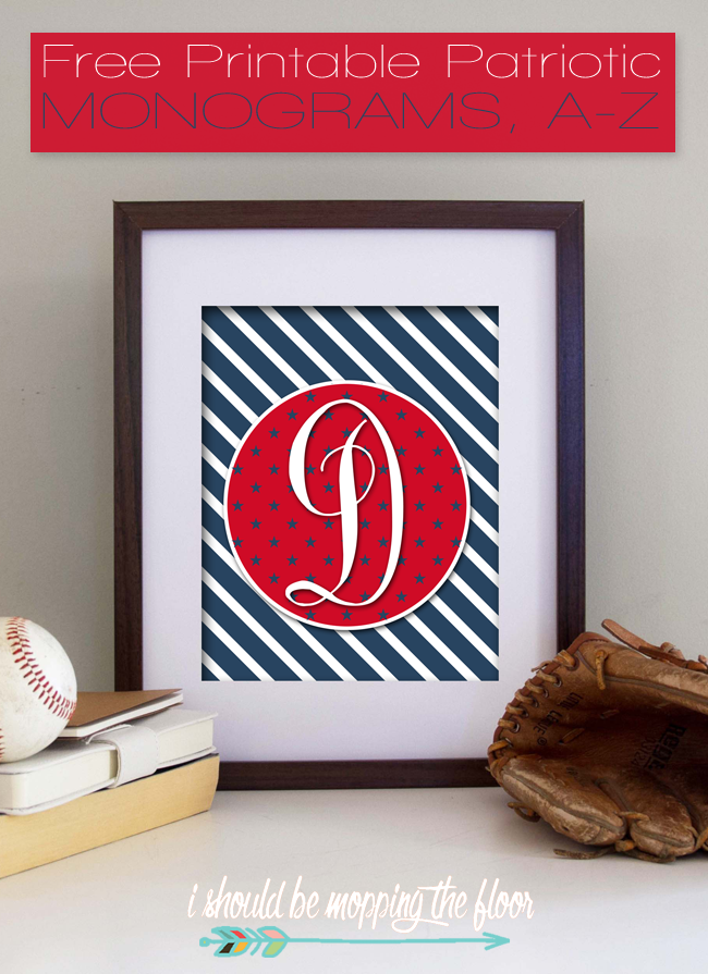 Free Printable Patriotic Monograms | Letters A-Z Available | Instant Downloads