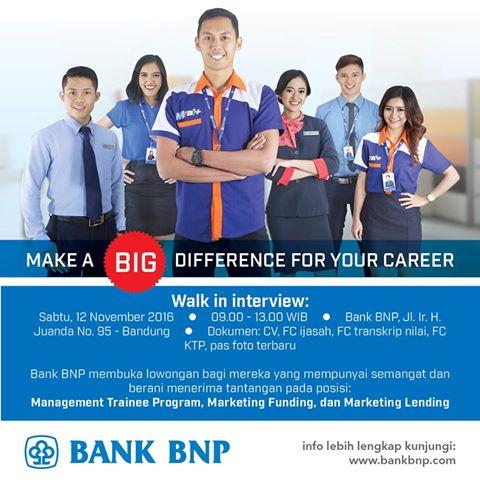 Lowongan Kerja Bank BNP Bandung November 2016