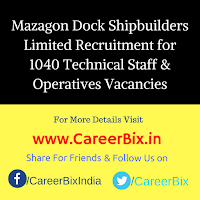 Mazagon Dock Shipbuilders Limited Recruitment for 1040 Technical Staff & Operatives Vacancies