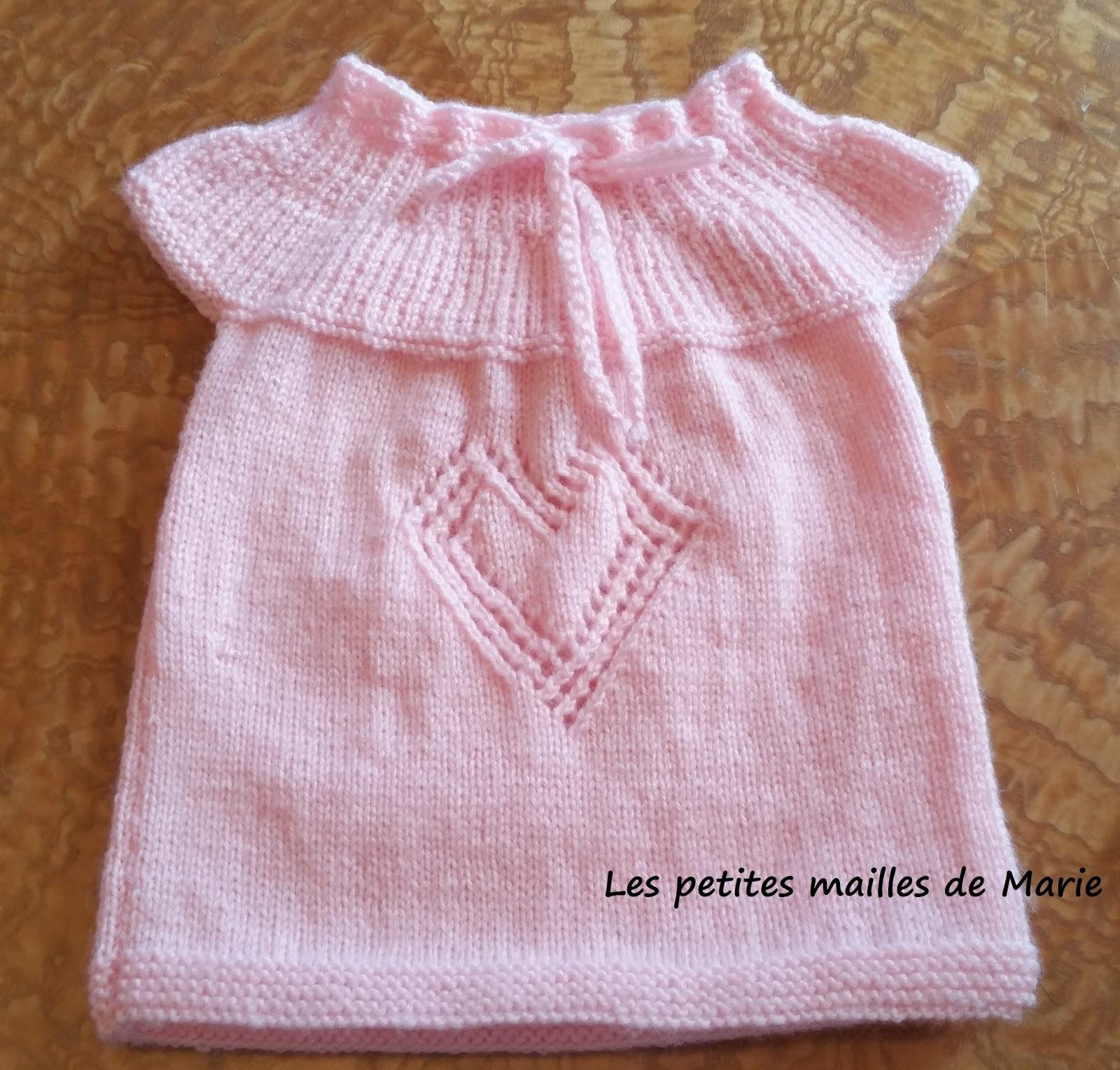 Les petites mailles de marie robe taille naissance motif - 3 petites mailles ...