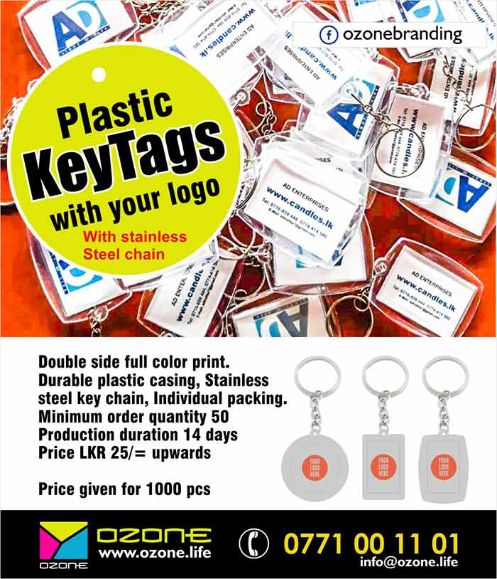Plastic/Acrylic key tag Printing with your logo  Double side full color print. Durable plastic casing, Stainless steel key chain, Individual packing.  Minimum order quantity 50  Production duration 14 days Price LKR 25/= upwards ( Prices given for 1000 pcs )  Free delivery.  #keytag #keychain #plastickeytag #acrylickeytag #corporategift #ozonebranding