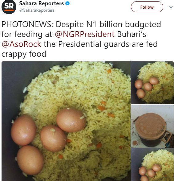 Food Served To The Presidential Guards In Aso Rock, Despite N1bn Food Budget