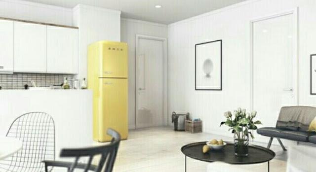 Desain Interior Rumah Minimalis type 45 Kombinasi Ruang Keluarga dan Dapur