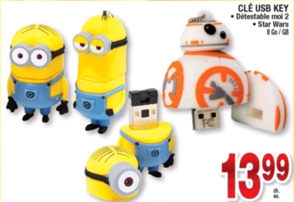 coupons et circulaires 13 99 cl usb minions starwar. Black Bedroom Furniture Sets. Home Design Ideas