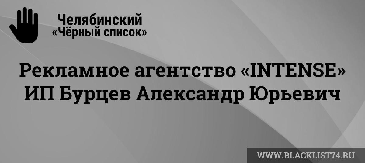 Рекламное агентство «INTENSE» (Интенс), ИПБурцев Александр Юрьевич