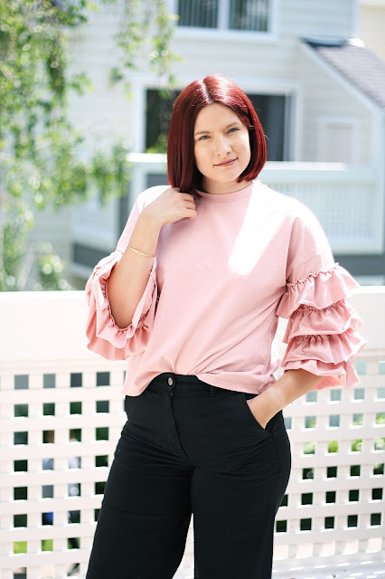 Shein, Affordable womenswear, Ruffle trend, blush, fashion blogger, red hair