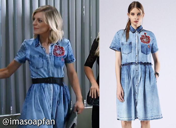 Maxie Jones's Blue Denim Dress with Embroidered Red Flowers - General Hospital, Season 54, Episode 08/18/16