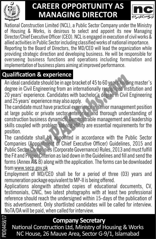 National Construction Ltd,NC House Latest Jobs 2018, www.secp.gov.pk