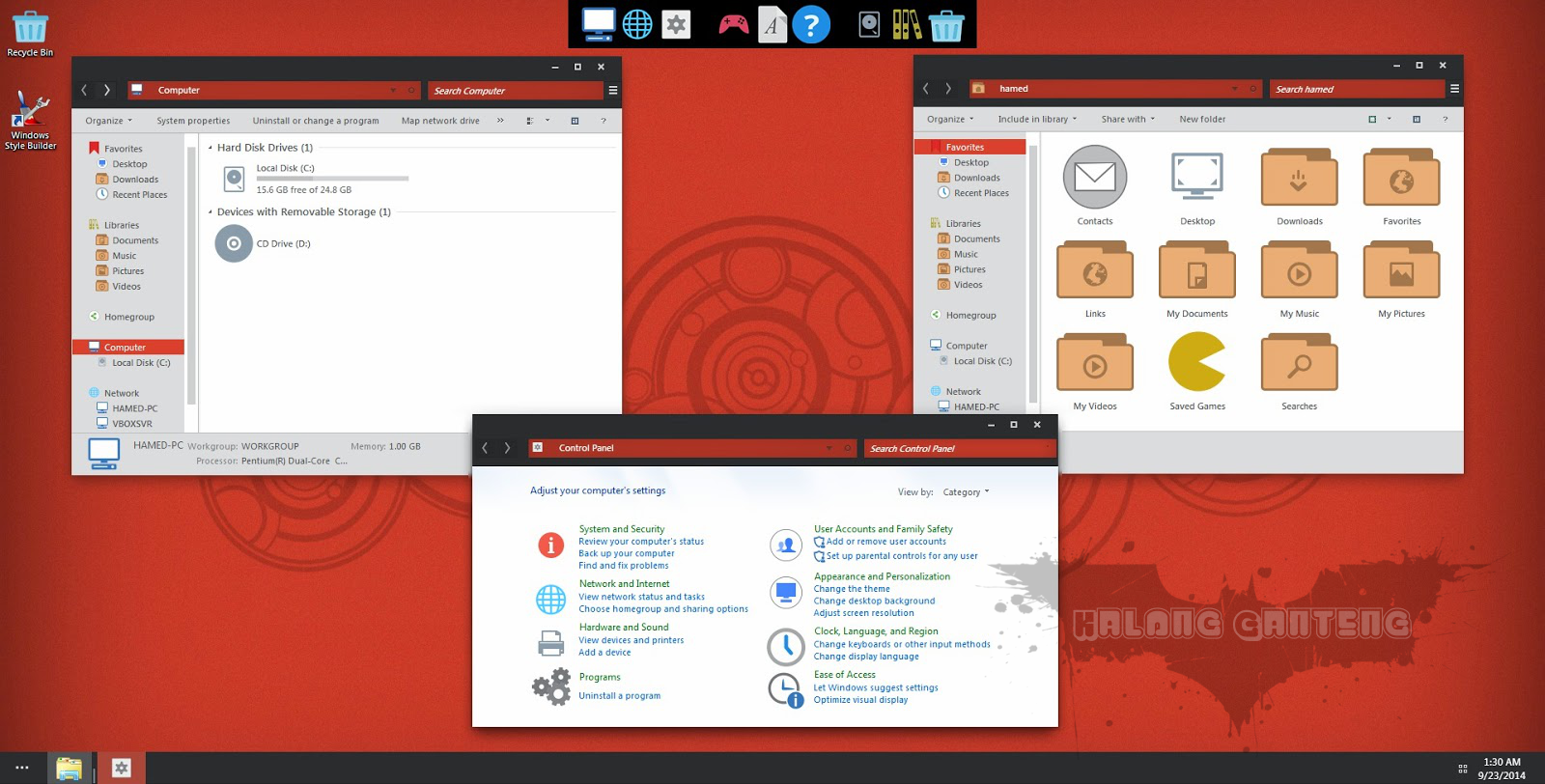 Screenshot Numix Skin Pack pada windows 7
