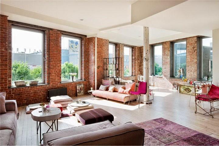 Interior loft bohemio en nueva york decoraci n - Ladrillo decorativo interior ...