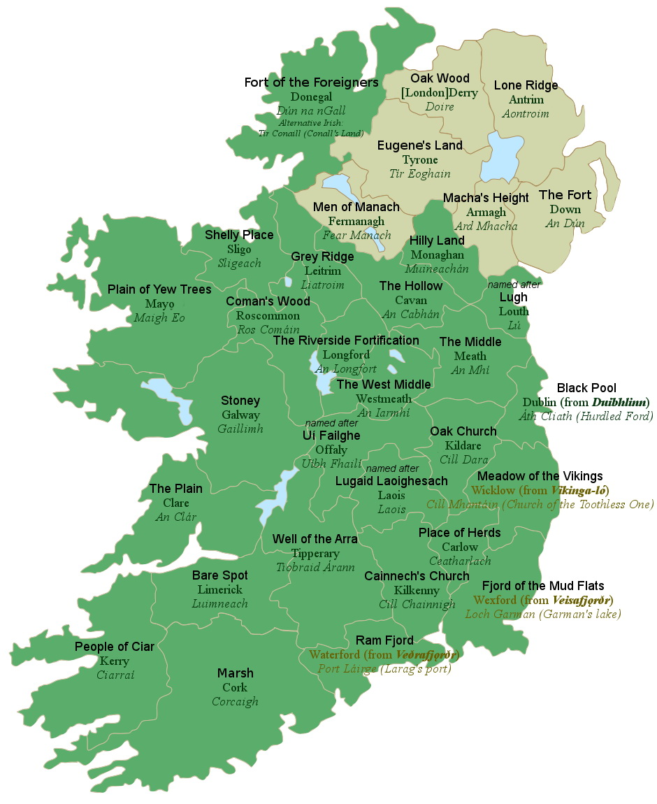 Irish counties by their literal meaning