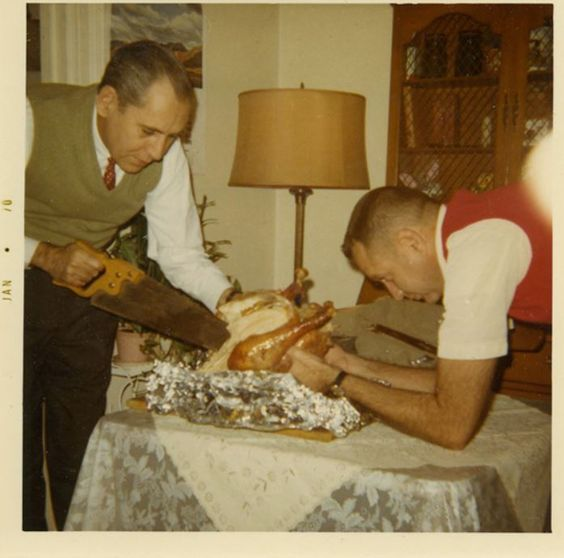 Vintage Snapshot. Family Thanksgiving 1970s. Dad pretends to cut the turkey with a saw. What are you thankful for and other stories of Giving Thanks. marchmatron.com
