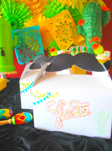 Fiesta party favor boxes. See what they're filled with over at Fizzy Party.com