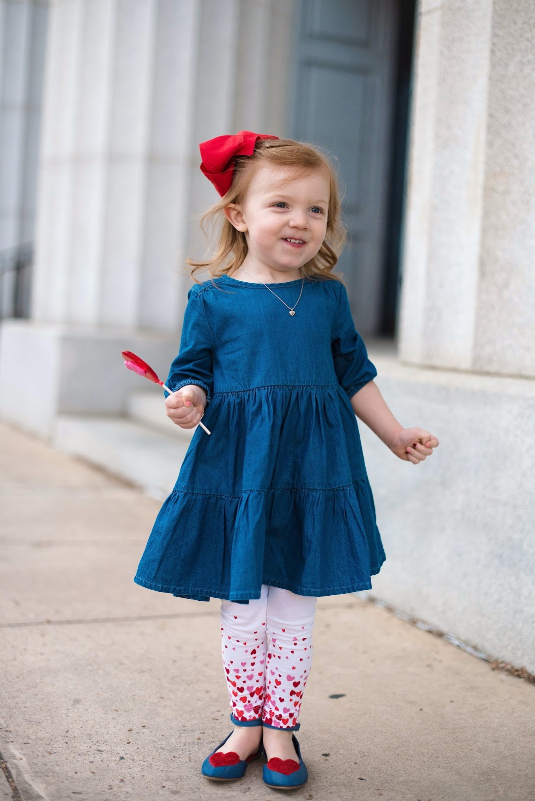Toddler Old Navy Chambray + Hearts Outfit - Click through for more on Something Delightful Blog