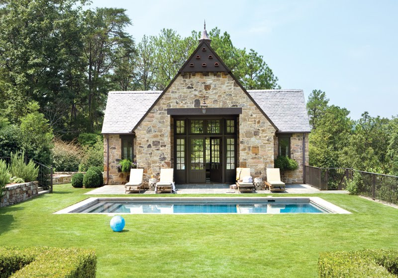 Exterior of a stone pool house