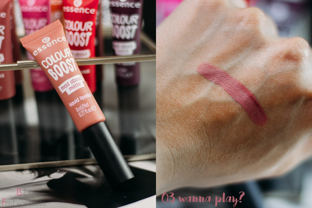 essence colour boost mad about matte liquid lipstick 03 wanna play inkl Swatch