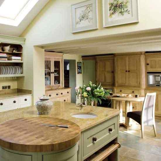 A Modern Bright And Airy Kitchen With Wooden Details: New Home Interior Design: Country Kitchens