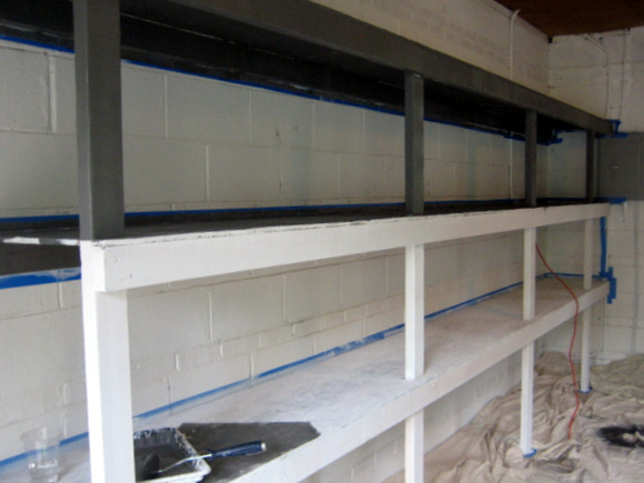 primed garage shelves