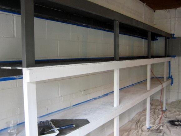 primed garage shelves