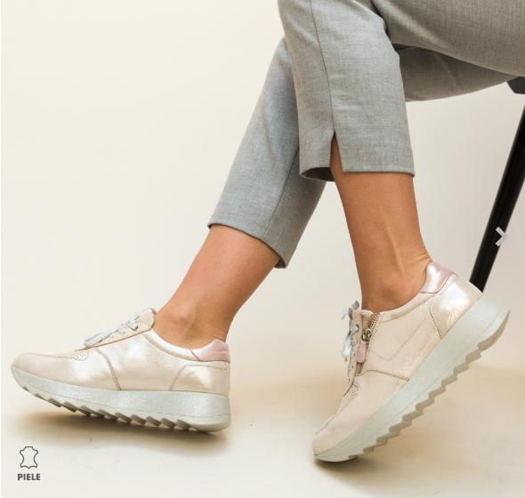 Pantofi casual dama bej piele naturala fashion luciosi