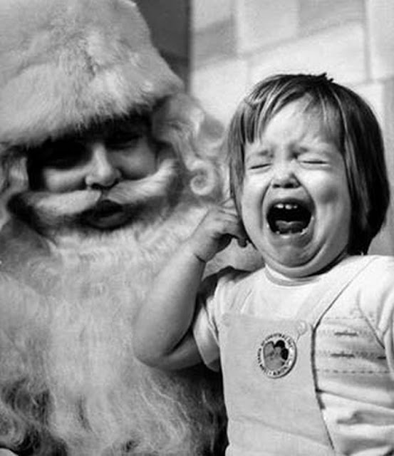 Little girl cries on Santa's lap c.1970s A Pleasant Christmas Story and other stories of Christmas Creepers. marchmatron.com