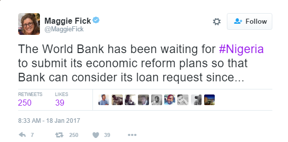 World Bank waiting for Nigeria to submit its economic reform plans, in order to consider its loan request