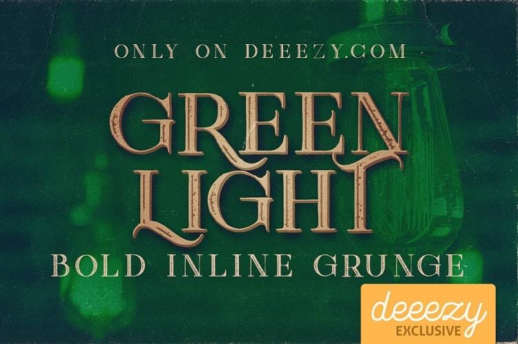 Font Edisi April 2017 - Green Light Bold Inline Grunge Font