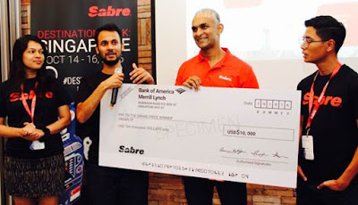 Source: Sabre. From left: Isolda Josy and Pranay Roy, Moments; Mendis from Sabre Travel Network Asia Pacific; and Marco Angeles, Moments.