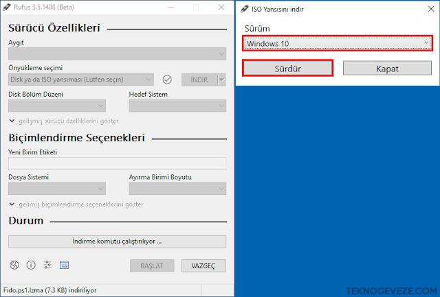 RUFUS Windows 10 / 8.1 İSO İndirmek
